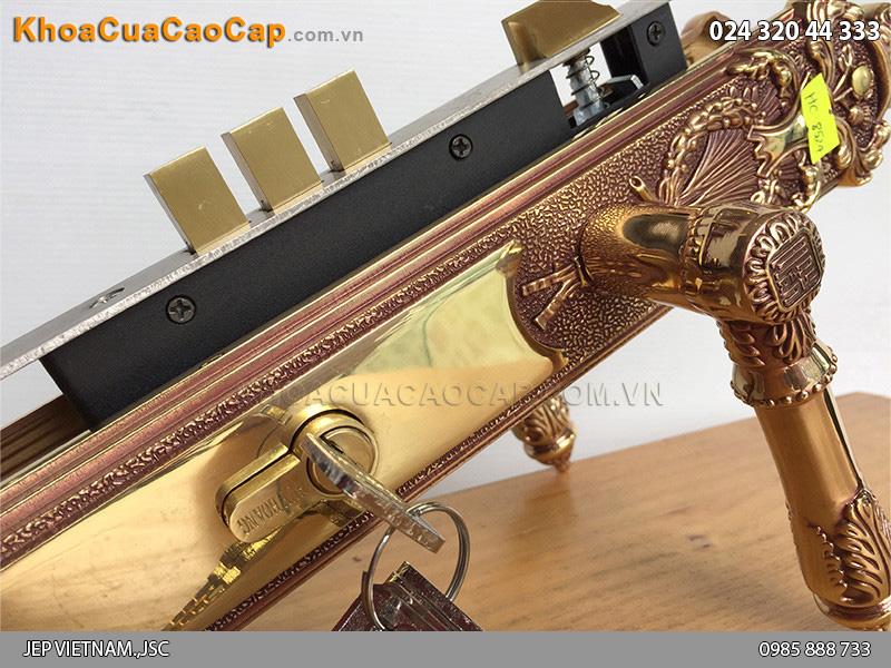 Khóa cửa tay gạt bằng đồng HC8524 - 3