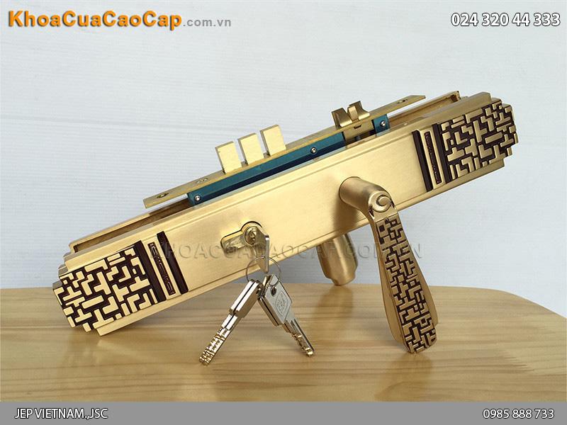 Khóa cửa chính bằng đồng Gold SSA BL-2222-RG