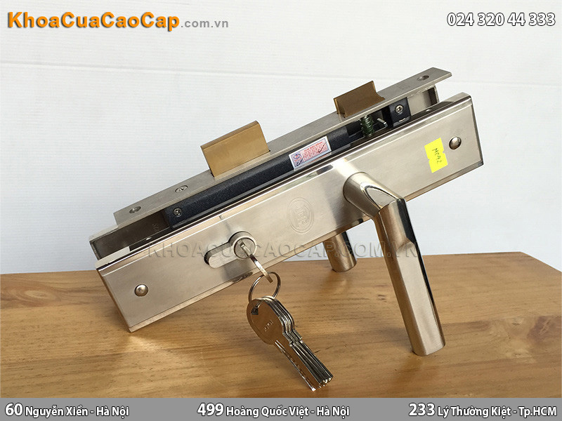 Khóa cửa gỗ tay gạt inox JEP MC42