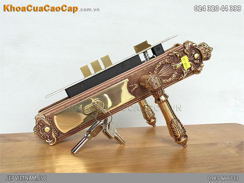 Khóa cửa tay gạt bằng đồng Huy Hoàng HC8524