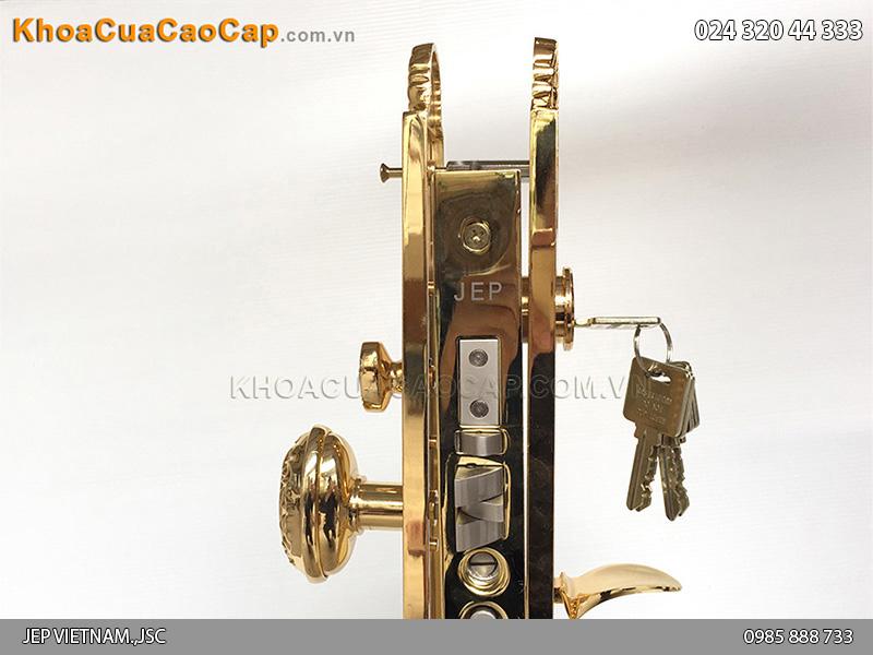 Khóa cửa đại sảnh bằng đồng mạ vàng Goal LX - 1