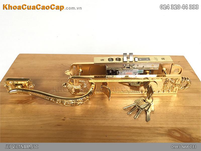 Khóa cửa đại sảnh bằng đồng mạ vàng Goal LX - 2