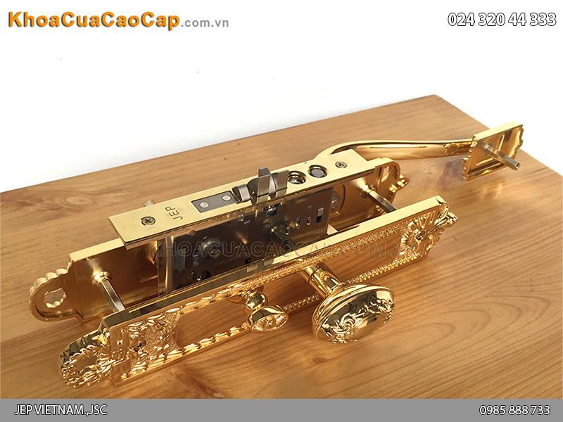 Khóa cửa đại sảnh bằng đồng mạ vàng Goal LX - 3