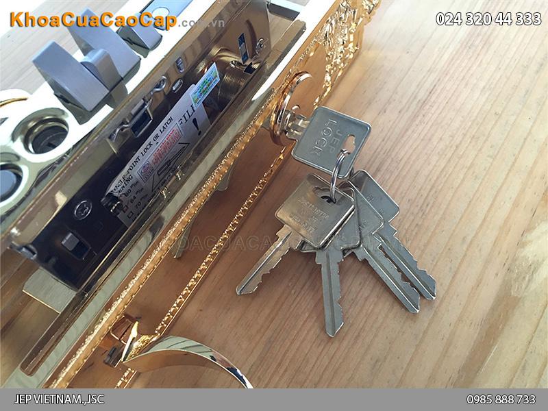 Khóa cửa đại sảnh bằng đồng mạ vàng Goal LX - 4