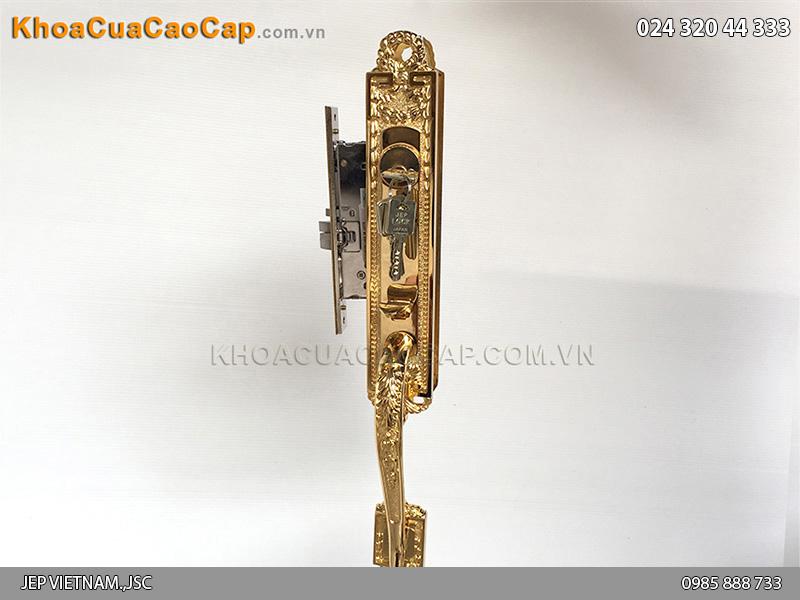 Khóa cửa đại sảnh bằng đồng mạ vàng Goal LX - 6