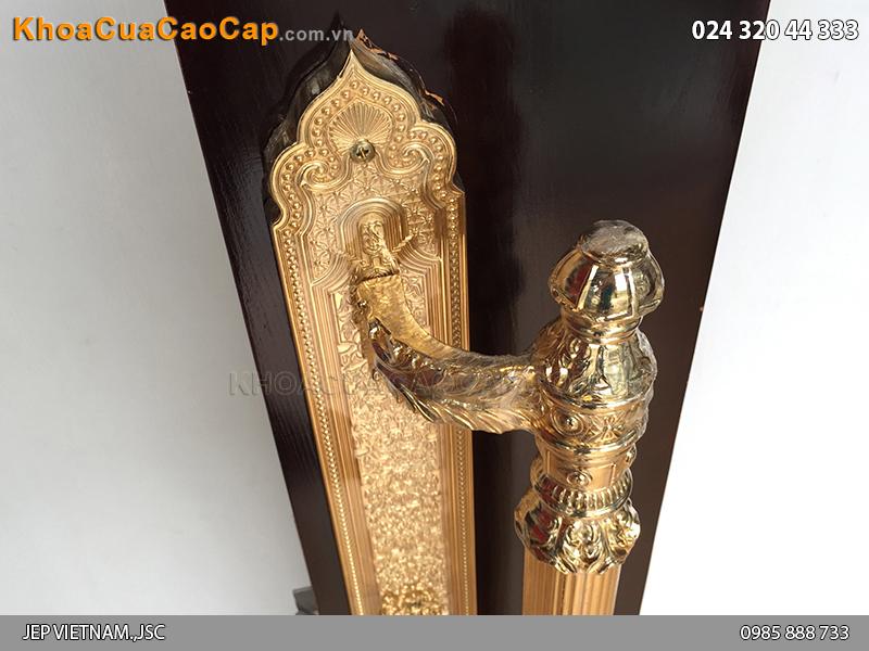 Khóa cửa đại sảnh bằng đồng mạ vàng JP-007-24K - 2