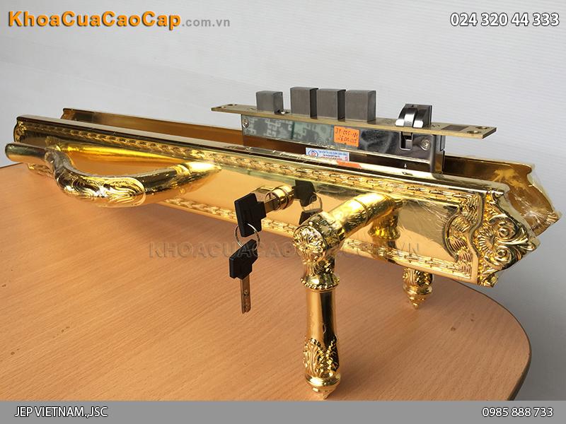 Khóa cửa đại sảnh bằng đồng mạ vàng JP-005-18K - 4