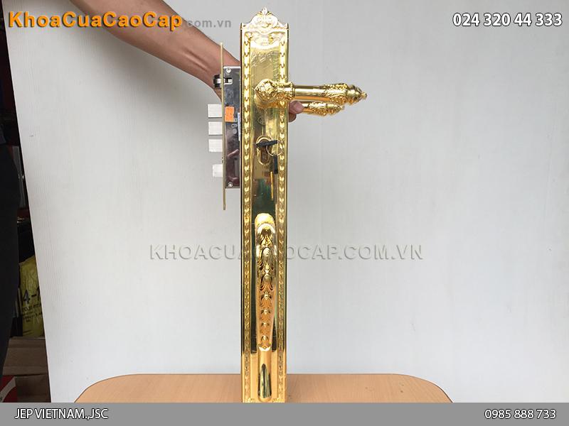 Khóa cửa đại sảnh bằng đồng mạ vàng JP-005-18K - 6